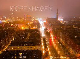 Copenhagen night above the city